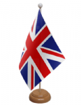 Great Britain Union Jack Desk / Table Flag with wooden stand and base